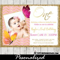 Butterfly 1st Birthday Invitations Photo Pink Gold Foil Chevron Glitter 2