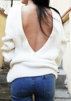 White Plain Off Shoulder Backless Long Sleeve Loose-fitting Sexy Fashion Acrylic Sweater - Pullovers - Sweaters - Tops Estilo Fashion, Fashion Mode, Look Fashion, Womens Fashion, Fall Fashion, Latest Fashion, Fashion Trends, Fall Winter Outfits, Autumn Winter Fashion