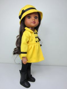 Hearts 4 Hearts doll clothes   Bright yellow pea coat and hat with black details    by JazzyDollDuds