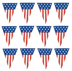 of July Bunting & Pennant Decorating Ideas « Home Seasons – Holiday Decorations & Seasonal Decor Pennant Banners, Bunting Banner, American Card, Patriotic Images, Mini Flags, Holiday Tree, Christmas Printables, Independence Day, Fourth Of July