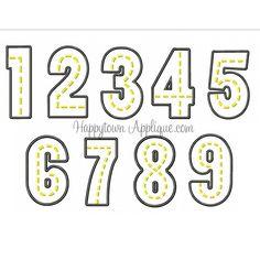 Road Numbers Applique Design (Set)