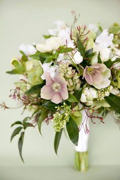 Hellebores..wait till flowers are papery then they will hold in a vase... this pic with sweet peas and jasmine : Gardening and Floral Design Tips from Jane Wrigglesworth