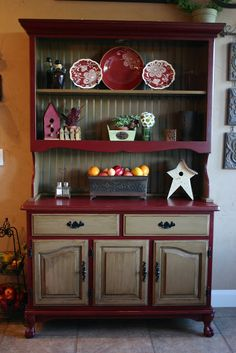 Wonderful Doubletake Decor: My China Hutch · Primitive Kitchen CabinetsPrimitive  CabinetsRed ...