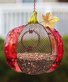 Harvest Shimmer Pumpkin Bird Feeder by Evergreen on Zulily Hanging Bird Feeders, Evergreen Enterprises, Yard Art, Bird Houses, Beautiful Gardens, Harvest, Christmas Bulbs, Bloom, Holiday Decor