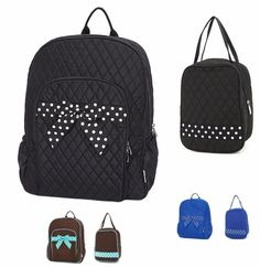 38d7f06ccd76 BACKPACK BOOK BAG   INSULATED LUNCH BAG QUILTED BLACK BROWN ROYAL  Monogrammable  Belvah