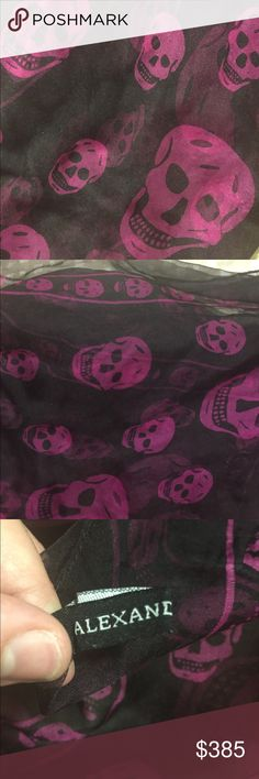 Authentic Alexander McQueen skull scarf Authentic Alexander McQueen black with fuchsia skull scarf. Will sell if I get a reasonable offer. Please note there is a small rip where they placed he original tag, however it is not noticeable and can still be worn and this is a steal! I love this scarf I just don't wear it.  Willing to negotiate 🤗✨. Please make a reasonable offer. Alexander McQueen Accessories Scarves & Wraps
