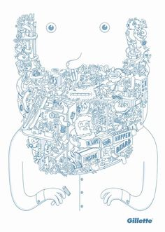A lot can happen inside the beard, Gillette Ads by BBDO New York I Love Beards, Beard Love, Moustaches, Character Illustration, Illustration Art, Creative Advertising, Advertising Agency, Expo, Oeuvre D'art