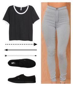 """Simple and plain"" by queen-ken ❤ liked on Polyvore featuring H&M and Vans"