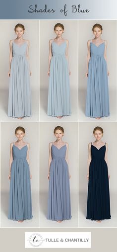 shades of blue bridesmaid dresses