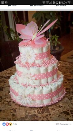 Pink butterfly diaper cake