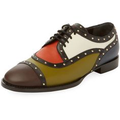 Valentino Garavani Women's Studded Colorblock Oxford - Size 35.5 (£455) ❤ liked on Polyvore featuring shoes, oxfords, multi, studded shoes, stacked heel shoes, colorblock shoes, leather oxford shoes and small heel shoes