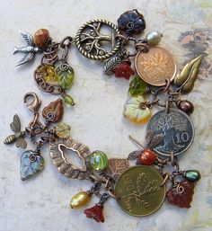 Coin Bracelet Tree of Life Leaf Themed Jewelry by curlybutterfly