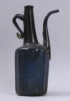 Amazing , early handled and spouted bottle with multiple concave panels and xhatch design, a masterpiece of bottle making craftsmanship in my opinion - Ivan. Still Life 2, Prehistory, Museum Of Fine Arts, Bottle Design, Black Glass, World Cultures, Colored Glass, Glass Bottles, Wine Decanter