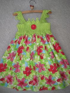 Dress RED FLOWERS on GREEN Crochet Bodice and Fabric by ElsaLAbbe, $38.00