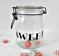 Antiques Vintage Glass Strawberry Embossed Glass Canister Jar With Rubber Sealed Top