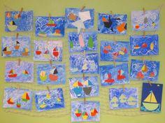 1. třída - moře - bílá voskovka a vodovky, loďky z barevného papíru.