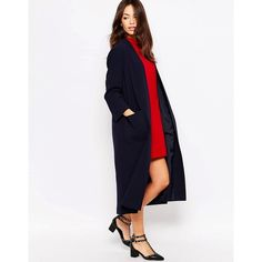 Helene Berman Long Lightweight Duster In Navy ($148) ❤ liked on Polyvore featuring navy and helene berman