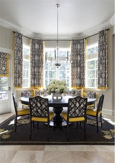 Dramatic Transitional Dining Room by Tobi Fairley on HomePortfolio
