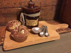 Primitive Farmhouse Gathering OAT MUFFINS Old Crock Wood Breadboard Spoons Lot  | eBay