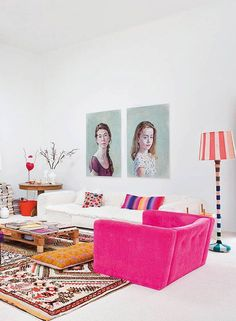 painted portraits in colorful living room / sfgirlbybay