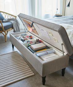 Home Room Design, Home Interior Design, Interior Office, Home Office Storage, Cozy Home Office, Room Ideas Bedroom, Ikea Bedroom, Bench For Bedroom, Bedroom Stuff