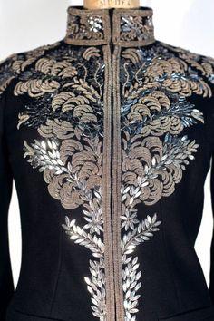 1stdibs   Alexander McQueen SS 2007 Black Suit w Metallic Embroidery