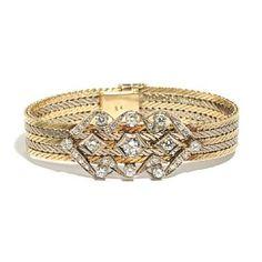 ARMBÅND    Gull. 14 k.  Fattet med en brilliant 0,50 ct. 10 brillianter 1,60 ct. 12 brillianter 0,30 ct. 8 8/8 diamanter 0,12 ct. T otalvekt: 50 g.   Antatt kvalitet: Top Wesselton SI  LENGDE 18,5 Belt, Engagement Rings, Accessories, Jewelry, Fashion, Diamond, Belts, Enagement Rings, Moda