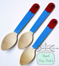 Spiderman party inspired spoons by Bespoke Party Products.  Visit www.fireblossomcandle.com for more party ideas!