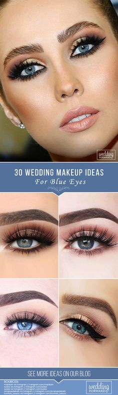 We have collected stunning makeup ideas for blue eyes. These makeup looks will make your blue eyes shine and sparkle, no matter what shade they are. Wedding Makeup Blue, Wedding Makeup Tips, Bride Makeup, Bridal Makeup For Blue Eyes, Beautiful Eye Makeup, Beautiful Eyes, Blonde With Blue Eyes, Blaues Make-up, Wedding Makeup Tutorial
