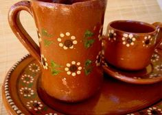 Mexican Coffee Vintage Clay Mugs and Tray. $24,50, via Etsy.