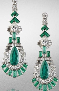 Art deco emerald and diamond pendent earrings, circa 1920