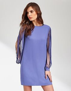 Womens hyacinth lost ink strap sleeve dress from Lipsy - £32 at ClothingByColour.com Spring Color Palette, Summer Colors, Lipsy, Cover Up, Tunic Tops, Dresses With Sleeves, Ink, Colour, Cute