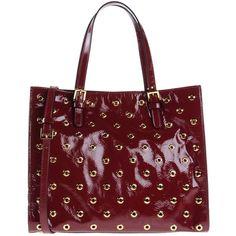 Red(v) Handbag ($640) ❤ liked on Polyvore featuring bags, handbags, maroon, man bag, leather tote shopper, leather hand bags, studded leather handbag and leather man bag