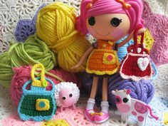 Lalaloopsy Doll Happy Baking Apron Crochet Pattern PDF Email Download   3.50    For full size Lalaloopsy dolls.  Worked up quickly with worsted weight yarn and a few buttons, This is a great way to use up your scraps.