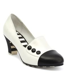 Black & White Ava Leather Pump