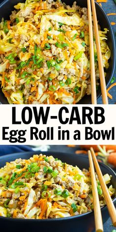 Egg Roll in a Bowl is the BEST low-carb dinner recipe and is one of our favorite 30 minute meals made in one pot! This ground turkey recipe is quick and easy to make and is keto, Paleo, gluten-free, and Weight Watchers compliant! Low Carb Dinner Recipes, Good Healthy Recipes, Diet Recipes, Healthy Snacks, Healthy Eating, Cooking Recipes, Keto Dinner, Healthy Turkey Recipes, Healthy Cabbage Recipes