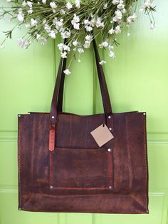 Hey, I found this really awesome Etsy listing at https://www.etsy.com/listing/238483575/shorty-kodiak-leather-tote-brown-leather