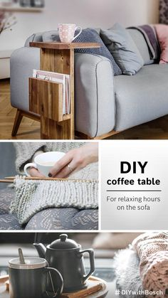 Sleek and practical: a home-made coffee table for your living room Recycled Furniture, Home Furniture, Diy Bedframe With Storage, Room Decor Bedroom, Living Room Decor, Made Coffee Table, Wood Table Design, Diy Bed Frame, Flat Ideas