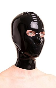 EXLATEX Latex Rubber Fetish Hood Mask with Openings for Eyes (Small, Black)