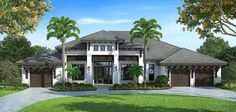 Spacious Florida House Plan - 66345WE | 1st Floor Master Suite, Beach, Butler Walk-in Pantry, CAD Available, Den-Office-Library-Study, Florida, Luxury, MBR Sitting Area, PDF, Southern, Split Bedrooms | Architectural Designs