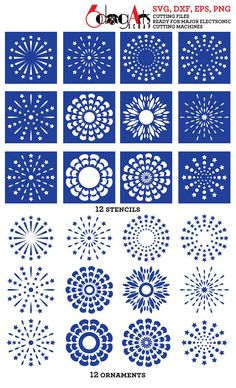 12 Digital Stencils SVG DXF Cut Files Pattern Template Crafting Supply Wall Decor Cookie Sten… 12 Digital Stencils + 12 Digital Ornaments – vector files to use for your crafting projects – card making, wall decor, scrapbooking, making pattern te… – Dot Painting Tools, Rock Painting Patterns, Dot Art Painting, Rock Painting Designs, Mandala Painting, Paint Designs, Stone Painting, Mandala Pattern, Mandala Design
