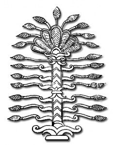 'Tree of Life.' Symbolists quickly identified a phallic symbol of the palm tree within a female yoni-shaped opening, equating to the oval nimbus and/or vesica piscis (often associated with the Virgin Mother). The symbols represent divine androgyny and the act of creation (coitus) between the Assyrian god and goddess.