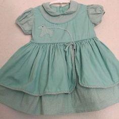 Vtg Toddler Girls 1950s Mint Green Gingham Dog Puppy Dress 18 24M | eBay