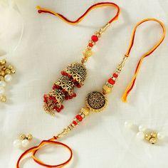 Bhaiya Bhabhi Rakhi Designed with Metal Jaal work with Red Beads Handmade Rakhi Designs, Handmade Ideas, Rakhi Images, Happy Raksha Bandhan Images, Raksha Bandhan Wishes, Rakhi Making, Rakhi Online, Rakhi Gifts, Beads Online