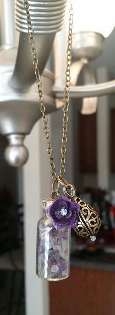 Essential Oil Diffuser Car Necklace Amethyst by FaithRustGypsyDust