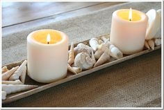 Beachy shells and candles