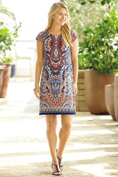 Cap Sleeve Knit Shift Dress - love the boho print, cap sleeves, and length - above knees but not TOO short