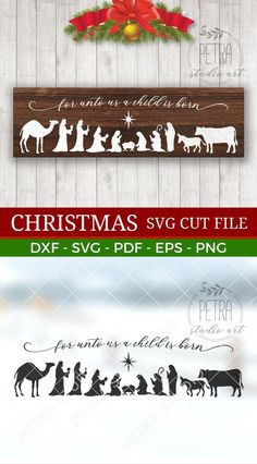 Horizontal Nativity scene SVG Cut file for your rustic Christmas decoration by Petra Studio Art. Christmas Vinyl, Christmas Nativity Scene, Christmas Signs Wood, Rustic Christmas, Christmas Projects, Christmas Decorations, Xmas, Christmas Music, Christmas Tree