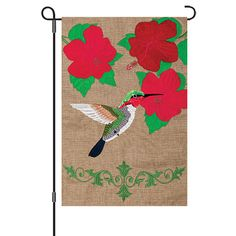 Hummingbird Sequined Decorative Reversible Burlap Garden Flag