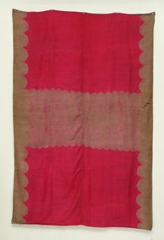 """Plangi (Shawl) A tie-dyed magenta and mauve silk shawl. An H-shaped design with scalloped edges. Mauve characters across center band.   Palembang Province, Sumatra, Indonesia, 1900, tie-dyed silk, poor condition, 44"""" x 68"""""""